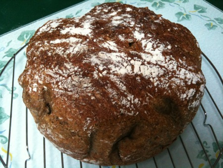 my first try at whole grain no-knead bread